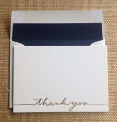 Gold Foil Letterpress Thank You Cards  set of 10 by LHCalligraphy, $15.00
