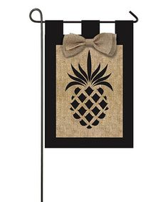 Pineapple Burlap Outdoor Flag