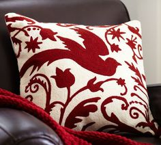 Florentine Angel Crewel Embroidered Pillow Cover from #Pottery #Barn #Pillows #Home #Decor