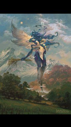 Dark Fantasy Art, Fantasy Artwork, Fantasy Paintings, Fantasy Art Landscapes, Fantasy Landscape, Mythical Creatures Art, Fantasy Creatures, Fantasy Character Design, Character Art