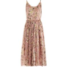 BALENCIAGA Jonquille 1964 edition silk dress (15.095 BRL) ❤ liked on Polyvore featuring dresses, vestidos, balenciaga, pink multi, silk floral dress, floral day dress, brown silk dress, silk dress and floral print dress