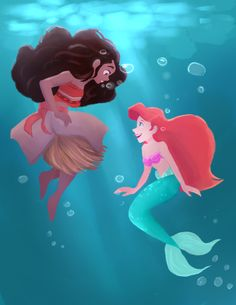 the ocean is a friend of mine. This is literally so great!!! 2 of my favorite princesses!!! ❤️
