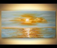 Sunrise Painting Original Contemporary modern Abstract Seascape Painting On Canvas Palette Knife by Osnat 48x24 by Tânia Acosta
