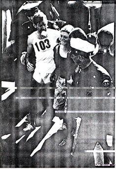 Bobbi Gibb finishing the 1966 Boston Marathon.