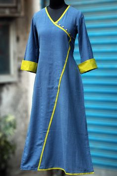 a long kurta in indigo khadi, designed to give the kimono look with bell sleeves! the main & trim fabric is 100% hand spun, hand woven super soft khadi in