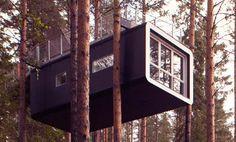 Slapen in de boomhutten van het treehotel Zweden