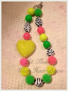 Neon Zebra with Rhinestone Heart Chunky Bead Necklace for Little Girls, Kids Jewelry, Toddler, Infant Photo Prop, Trendy, Popular Gifts, on Etsy, $13.49