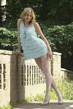 Discover this look wearing Light Blue Dresses, Off White Tights tagged fringe dress, lace tights, lacey pantyhose - Miss cutie by fernandafgm styled for Vintage, Dinner Date Nylons, Pantyhose Outfits, Tights Outfit, White Tights, Lace Tights, Patterned Tights, Light Blue Dresses, Cozy Fashion, Women Legs
