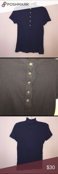 Tory Burch Navy Polo Size S, great used condition. Ruffled color. Color is Navy, accents are gold. Feel free to ask any questions! Tory Burch Tops