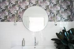 Black and White Bathroom with accent abstract aubergine wallpaper