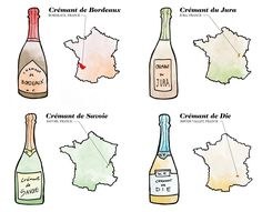 Cremant wines of France, Bordeaux, Jura, Savoie and Die Illustration by Wine Folly