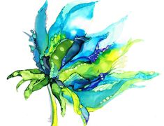 Fine Art Giclée print from my original alcohol ink painting. Beautiful vivid colours of turquoise blues and greens. Ocean colours, abstract botanical design Super high quality print using archival inks on acid free 230gsm matt paper. Packed securely for shipping. Print sizes
