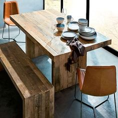 Reclaimed Wood Dining Room Table With Bench - Interior Design Dining Room Reclaimed Wood Dining Table, Dining Table With Bench, Dining Table Design, Solid Wood Dining Table, Rustic Table, Dining Table Chairs, Rustic Wood, Kitchen Tables, Wood Tables