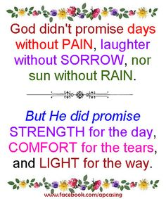God Did Not Promise Days Without Pain