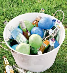 Try this trick: Half fill balloons with water, freeze overnight and use to chill drinks at your next gathering.