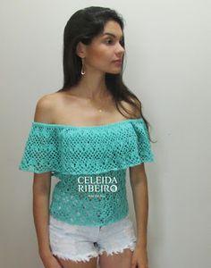Celeida Ribeiro: Blusa ciganinha de crochê!