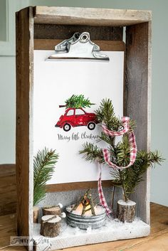 Crate shadow box snow scene with a picture by Craftberry Bush / on FunkyJunkInteriors.net #12days72ideas
