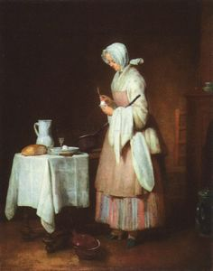 The Prayer before Meal, 1740 by Jean-Baptiste-Simeon Chardin. Baroque. genre painting. Hermitage Museum, Saint Petersburg, Russia