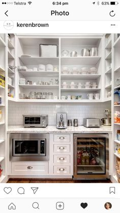 Butlers pantry with open shelving