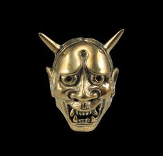 Bronze Japanese Devil Oni Mask Ring - Custom Size - Free Shipping #Handmade #StatementMaskRing