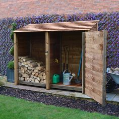 Outdoor Tool Storage, Outside Storage, Outdoor Tools, Outdoor Ideas, Cool Sheds, Small Sheds, Firewood Shed, Firewood Storage, Garden Power Tools