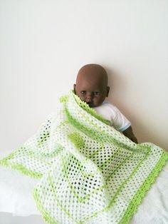 Crochet Baby Blanket, Afghan,stroller / travel size in Soft green and