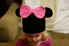 Minnie Mouse Hat by Blessedlittleknits on Etsy, $22.00