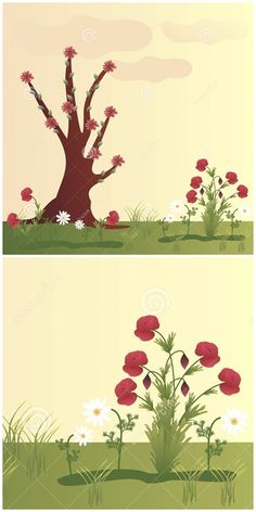 Illustration about Beautiful landscape with poppy flowers, chamomile and tree. Illustration of grass, beautiful, feminine - 52253035 Flower Background Wallpaper, Flower Backgrounds, Poppy Flowers, Flowers In Hair, Graphic Design Illustration, Illustration Art, Illustrations, Flower Drawing Tutorials, Portrait Pictures