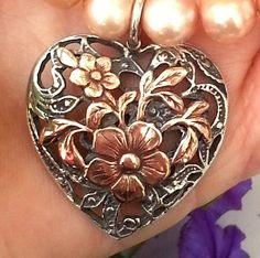 Rose gold Bouquet and silver Heart pendant by HedvaElanyJewelry, $175.00