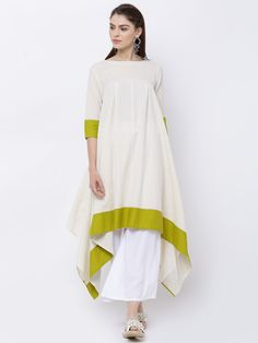 Buy Vishudh Women's Cream-Coloured Solid A-Line Trail Cut Kurta online Casual Dress Outfits, Girly Outfits, Fashion Outfits, Indian Party Wear, Indian Wear, Woman Clothing, Clothes Women, Kaftan Designs, Indigo Dress