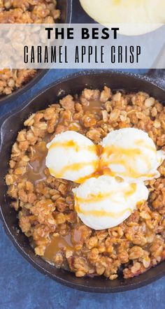 This Caramel Apple Crisp is a simple cozy fall dessert thats ready in no time Packed with tender apples a rich caramel sauce and a buttery brown sugar topping t. Homemade Apple Crisp, Best Apple Crisp Recipe, Apple Crisp Easy, Apple Crisp Recipes, Apple Crisp Without Oats, Apple Crisp Topping, Caramel Apple Crisp, Caramel Apples, Carmel Apple Crisp Recipe