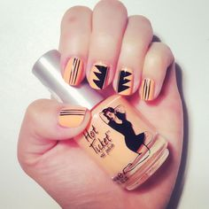 Fashion inspired nail design #1 - coral & black style