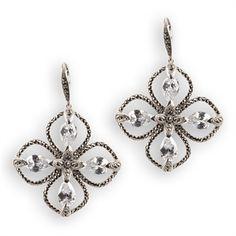 Judith Jack Winter Ice Crystal and Marcasite Flower Drop Earrings