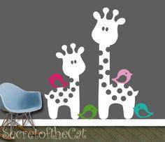 Nursery wall decal  children decal  giraffe by secretofthecat, $72.00