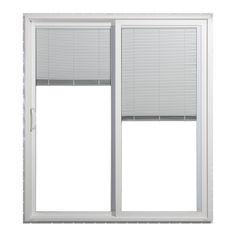JELD WEN 71.5 In Blinds Between The Glass White Vinyl Sliding Patio Door  With