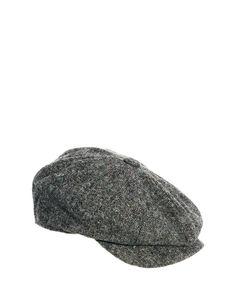 0d1720e1b39 ASOS Baker Boy Hat In Grey Tweed Tweed Fabric