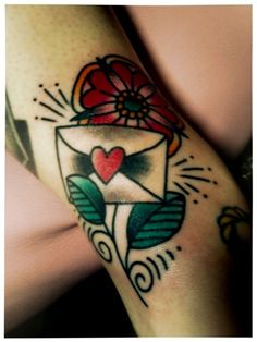 Love letter tattoo. With a hibiscus. For Grandma Jackie <3 American Traditional Tattoo