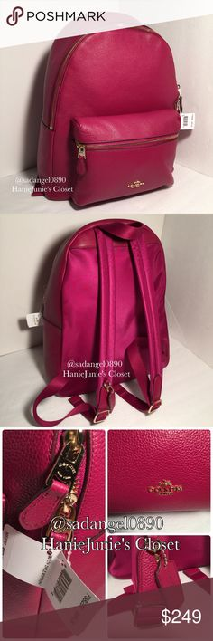 "💥🆕COACH CHARLIE PEBBLE LEATTHER BACKPACK Fushia pebble leather Brand new and 100% authentic  Gold tone hardware Inside zip and multifunction pockets Zip closure w/dual leather zip pulls, fabric lining Top Loop handle with 2 1/2"" drop Adjustable straps  Outside zip pocket 12"" (L) x 14 3/4"" (H) x 5 1/4"" (W) This bag retails for $395 Coach Bags Backpacks"