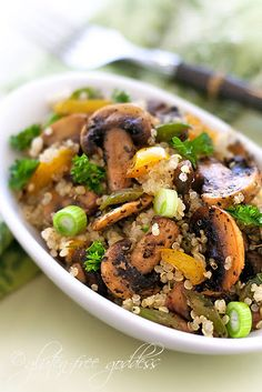 Quinoa pilaf with mushroom.  I love Quinoa!!  Costco has a quinoa and rice mix that is sooo good!