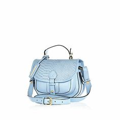River Island blue leather snake satchel £45.00