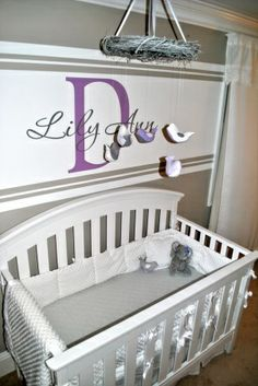gray and white striped nursery | ... grey and white crib bedding, white stripe on wall with vinyl decal