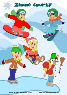zimné športy farebná predloha Winter Activities For Kids, Indoor Activities, Diy And Crafts, Crafts For Kids, Santa Decorations, Illustrations And Posters, Winter Sports, Winter Time, Four Seasons