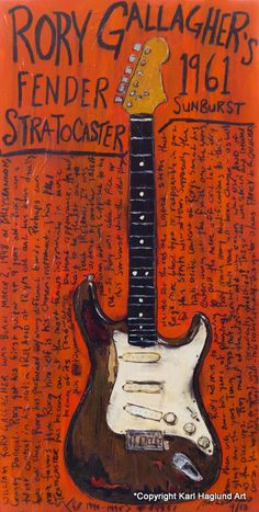 Print comes with a black border to be trimmed for 11x17 frame. Painting part of print is like 9.5 x 16.5 - roughly This is an unframed print. I ship in a USPS tube with care. I paint the guitar and then tell its story alongside. I have most of the originals - a few originals are owned