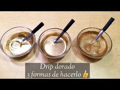 3 formas de hacer drip dorado para pasteles/ Escurrido dorado para pasteles - YouTube Bolo Drip Cake, Drip Cakes, Sweets Recipes, Cake Recipes, Desserts, Fantasy Cake, Sweet Bakery, Frosting, 3 D