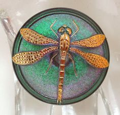 40mm Foiled Glass Czech Button with gold dragonfly by Nikia, $15.00