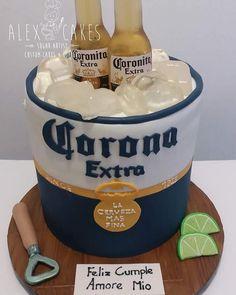 Corona beer bucket cake by Alex Corona (Corona) disease is really a big band of Beer Can Cakes, Beer Mug Cake, Beer Mugs, Birthday Cakes For Men, Beer Birthday Cake For Men, Birthday Cake For Boyfriend, Cake Birthday, Corona Cake, Liquor Cake