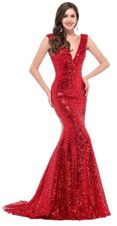 Cheap Long Red Sequin evening dresses 2016 robe de soiree longue vestido de noche Sexy Trumpet mermaid gown Gold formal Dresses