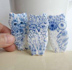 Owls. Dutch Delft Brooches.