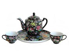 Asian Black Floral Porcelain Teapot Cups and Serving Tray Set