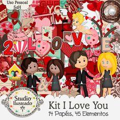 Kit I Love You, Love, amor, love you, coração, heart, arabescos, arabescs, swirl, stripes, listas, polka dot, bolinhas, poa, menino, menina, namorada, namorado, dia dos namorados, kit digital, digital kit, elementos, papéis, elements, papers, paper.